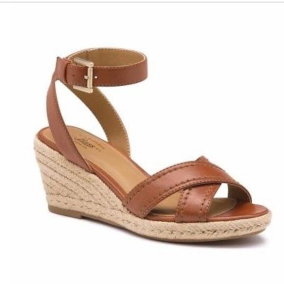 841dec0d382 ⚘SALE⚘ Bass Carmel Brown Espadrille Wedge Sandals NWT